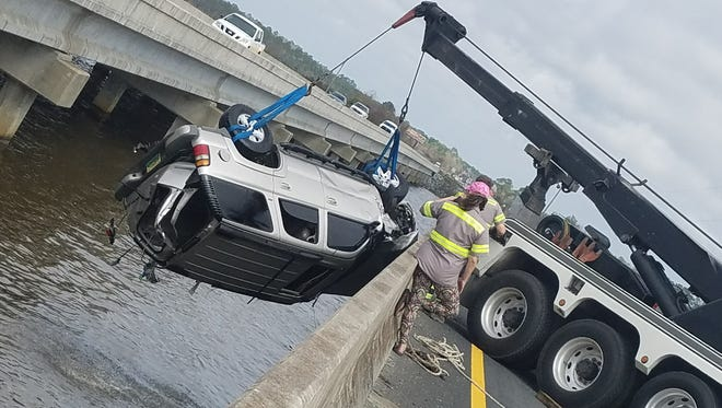A vehicle was submerged under water after a driver drove over a guardrail Wednesday, February 21, 2018.