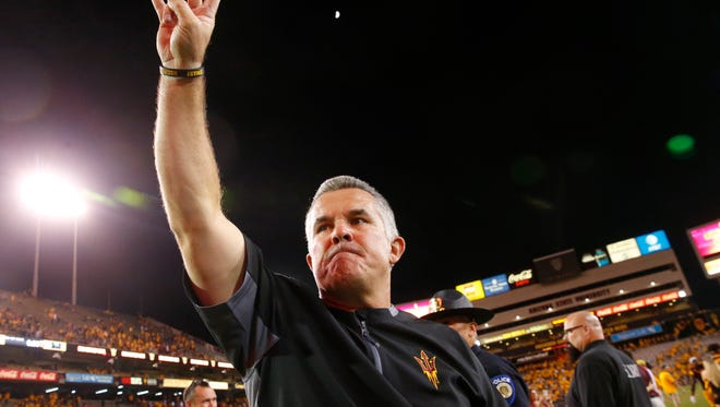 Arizona State head coach Todd Graham celebrates after the Sun Devils defeated the Arizona Wildcats in the 91st Territorial Cup game at Sun Devil Stadium in Tempe on Nov. 25, 2017.