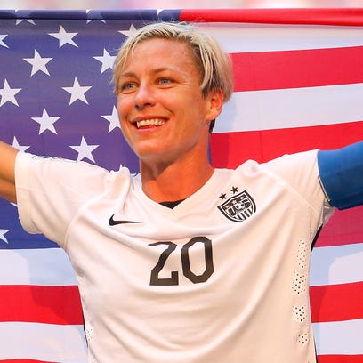 Abby Wambach celebrates after the United States won