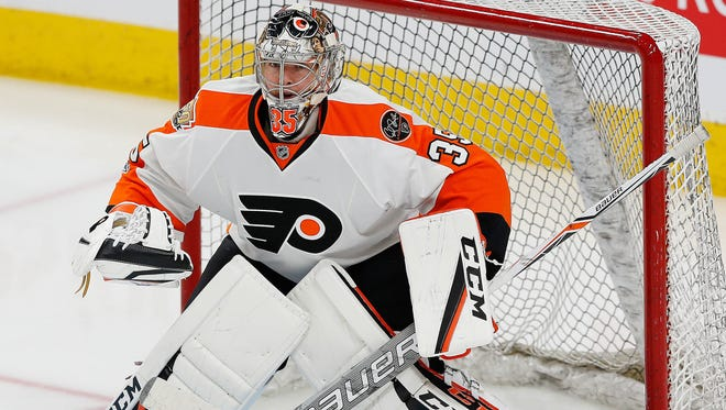 Steve Mason was in net Saturday, for the third straight game for the Flyers.