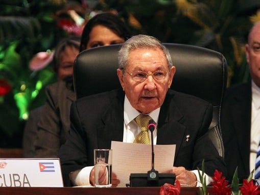 Cuban President Raul Castro talks during the plenary