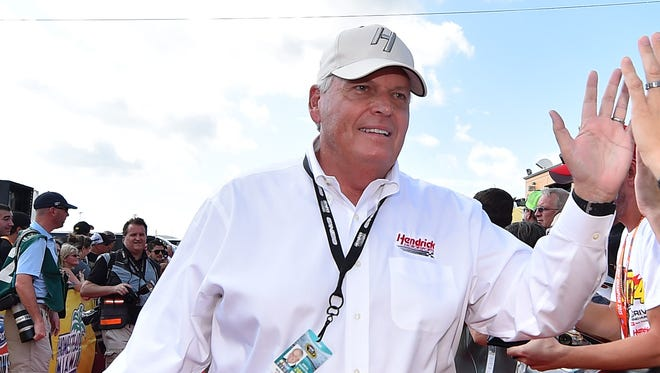 Rick Hendrick is introduced prior to the 2015 NASCAR Sprint Cup season finale at Homestead-Miami Speedway.