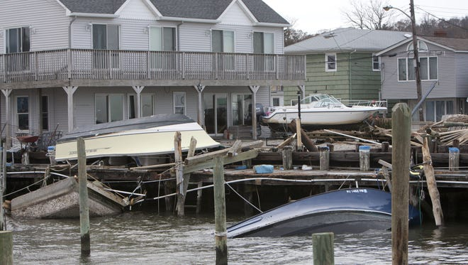 These boats  in Highlands fell victim to Hurricane Sandy.