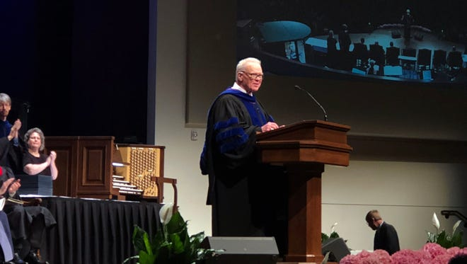 Paige Patterson, seen here May 4 at a commencement in Fort Worth, was one of the most powerful leaders in the history of the Southern Baptist Convention, a giant force in American evangelicalism.