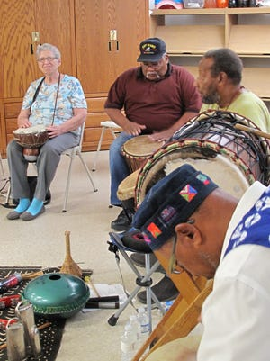 Juneteenth celebration in 2015 had participants drumming at the Alamogordo Public Library.