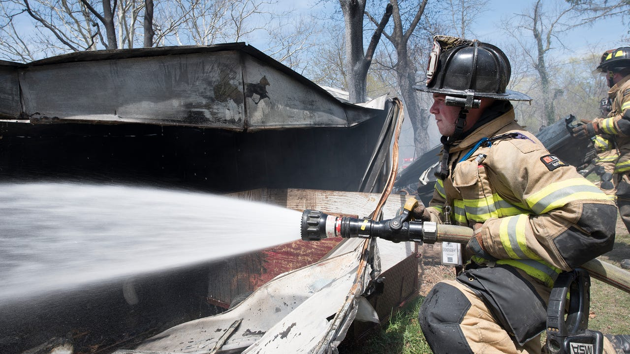 Fire destroyed a garage and several small buildings at 3413 Social Island Road near Marion in Guilford Township, Monday, April 23, 2018. There were no injuries.