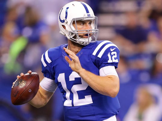 Indianapolis Colts quarterback Andrew Luck (12) throws during pre-game activities of an NFL football game Saturday, Aug. 27, 2015, at Lucas Oil Stadium.
