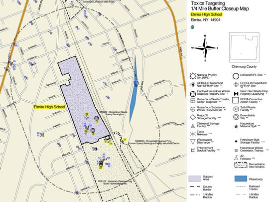 This map shows Elmira High School and historical industrial