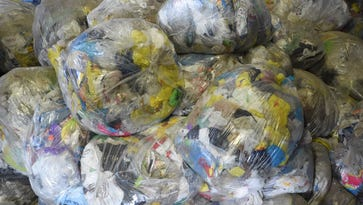 A closer view of the pile of plastic bags at ReCommunity Recycling in Beacon.