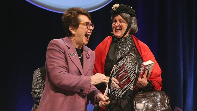 Tennis icon and women's rights activist Billie Jean King, shares a laugh with Susan B. Anthony who is portrayed by Barbara Blaisdell,  after she was the keynote speaker at the Susan B. Anthony Birthday Luncheon.