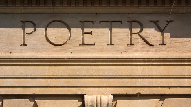 Poetry text on building