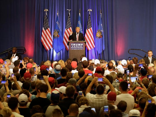Donald Trump speaks during a rally in West Bend, Wis.,
