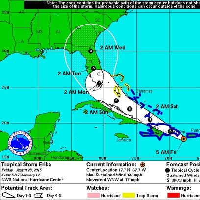 Tropical Storm Erika's 5-day forecast cone as of 5