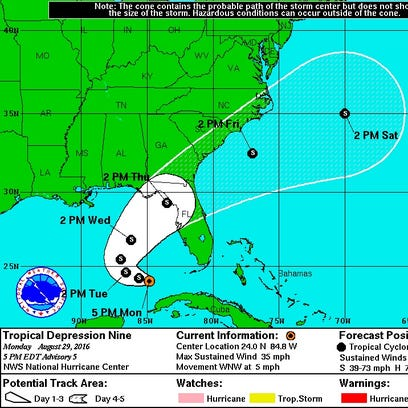 Project path of Tropical Depression Nine.