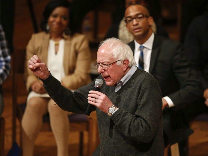 Democratic presidential candidate Bernie Sanders pumps