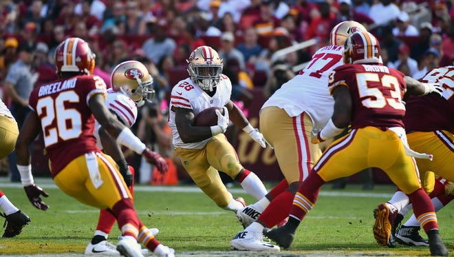 Carlos Hyde ranks second in the NFL among running backs in targets.