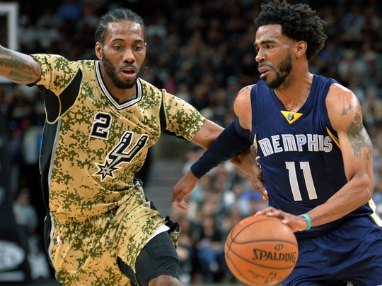 Memphis Grizzlies guard Mike Conley (11) drives around