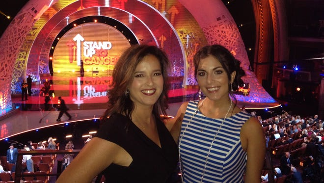 """""""Dancing With the Teachers"""" co-founders Jennifer Harrington, left, a North Rockland teacher, and Amy Leibel, a Nyack teacher, at the 2014 Stand Up to Cancer live telecast in Los Angeles, Calif."""