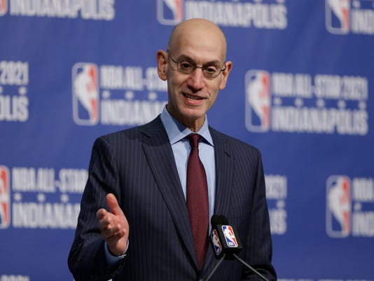 FILE - In this Wednesday, Dec. 13, 2017 file photo, NBA Commissioner Adam Silver announces that Indianapolis will host the 2021 NBA All-Star game . The NBA is establishing a confidential hotline for league and team employees to report concerns about misconduct in their workplace. The move comes after a Sports Illustrated report that described a hostile environment for women in the Dallas Mavericks organization. Commissioner Adam Silver sent a memo to teams Thursday, Feb. 22, 2018 detailing plans for the hotline and asking them to review their respect in the workplace policies. (AP Photo/Michael Conroy, File)