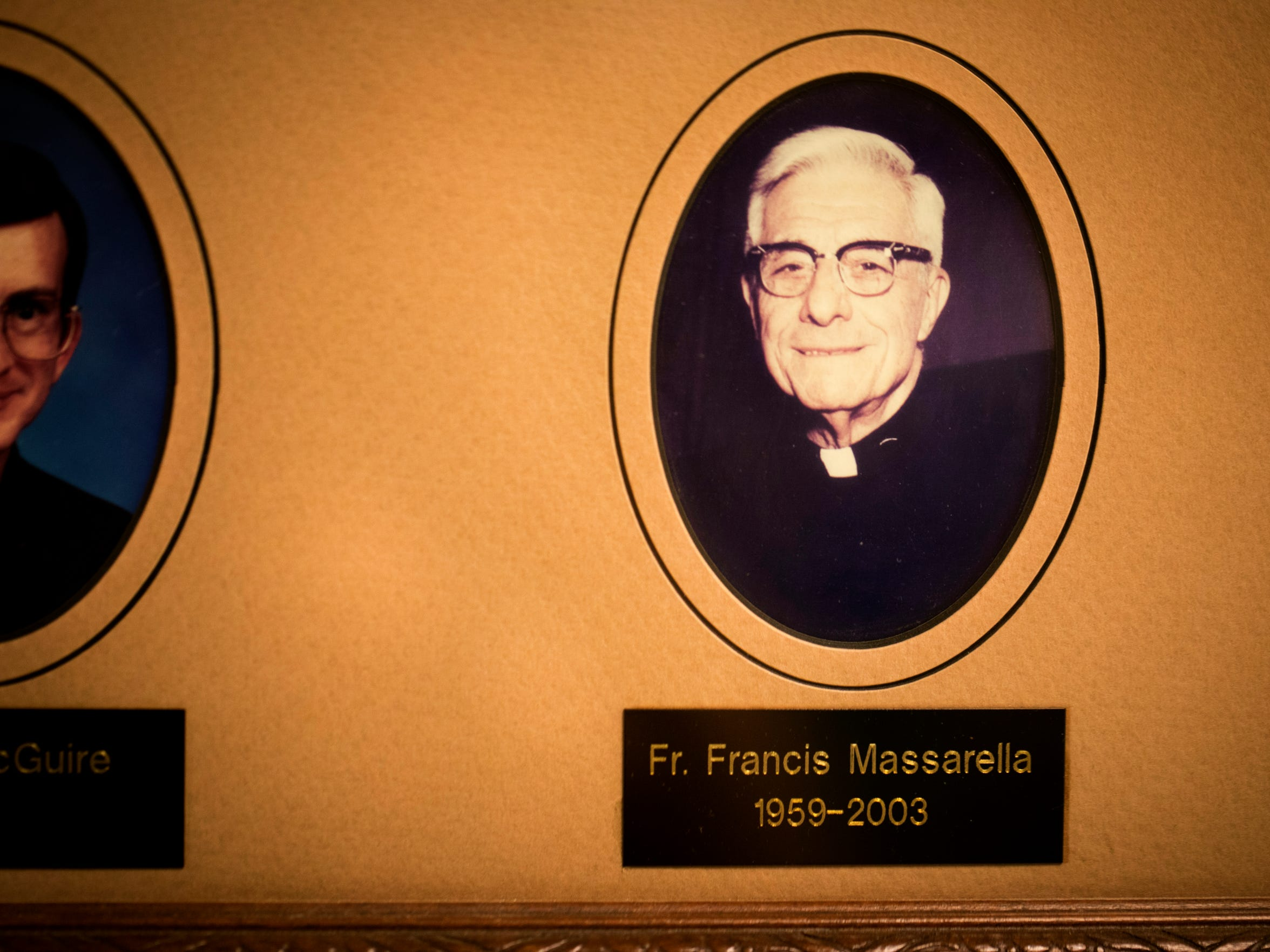 A photo of the Rev. Frank Massarella still hangs in