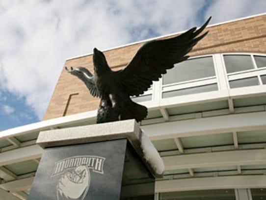 Brian Hanlon's hawk statue outside of Monmouth University's