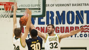 Forward Ethan O'Day (32) and the University of Vermont men's basketball team hope to reverse recent struggles when they return to the court after a week layoff.