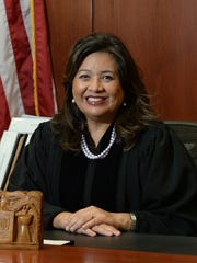 Chief Judge Frances Tydingco-Gatewood is shown in her courtroom at the District Court of Guam in Hagåtña in March 2014.