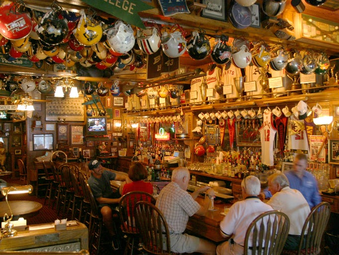 Fans love the atmosphere and décor at Chappell's Restaurant & Sports Museum in Kansas City, Mo.,  which prominently displays the owner's collection of sports memorabilia.