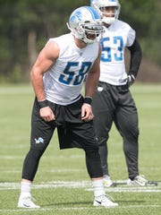 Lions linebacker Paul Worrilow takes part in OTAs on Wednesday, May 24, 2017 at the Allen Park practice facility.