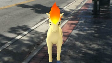 Ponyta poses under the Reno Arch on Virginia Street.
