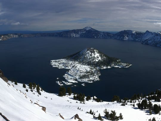 Crater Lake is seen from Watchman's lookout tower,