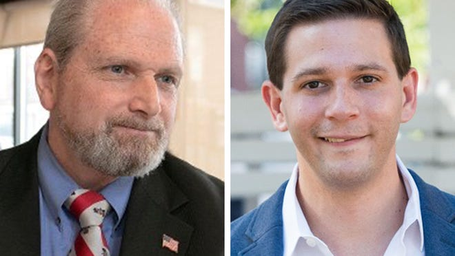Retired Fitchburg police Lt. Glenn Fossa, left, and Fitchbury City Councilor Michael Kushmerek are running for the state representative seat held by Stephan Hay.