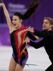 Madison Chock and Evan Bates of the United States perform during the ice dance, short dance figure skating in the Gangneung Ice Arena at the 2018 Winter Olympics in Gangneung, South Korea, Monday, Feb. 19, 2018. (AP Photo/Julie Jacobson)