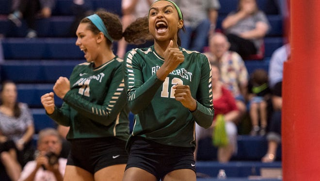 Kendal Strand (left), Alyiah Wells and the Briarcrest volleyball team are headed to next week's state tournament.