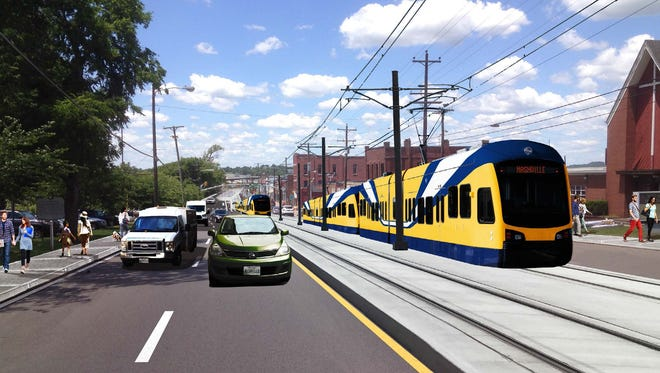 A rendering of light rail on Charlotte Avenue.
