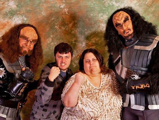 "Kim Huff and her son Jonny ham it up with ""Star Trek:"