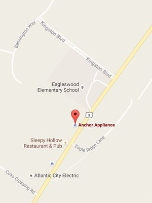 The location of Anchor Appliance on Route 9 in rural Eagleswood Township in southern Ocean County.