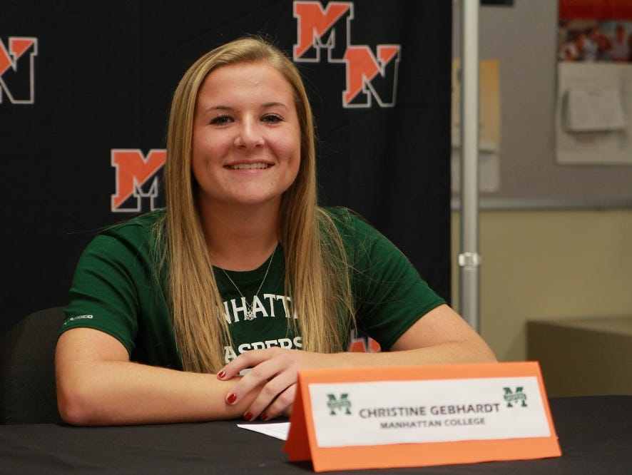 Christine Gebhardt signed with Manhattan College on Wednesday.