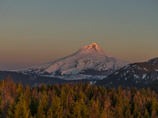 Views of Mount Hood are seen from Flag Point Lookout.
