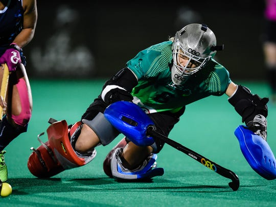 Alesha Widdall, of Whitney Point, alternate for the United States' Olympic Field Hockey Team, shown here in a game against Chile in May.