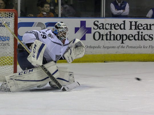 Ice Flyers goalie John McLean positions himself to