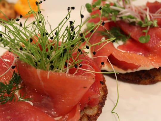 House-cured gravlax on potato pancakes, from Tasty