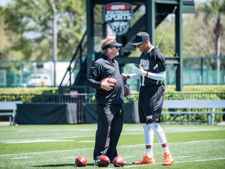 Jon Gruden and Josh Dobbs during the 2017 class at Gruden Camp