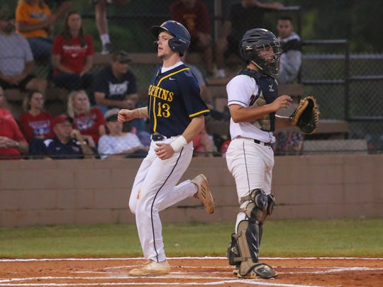 Gulf Breeze's Brandon Schrepf (13) scores during the Region 1-6A quarterfinal game against Wakulla at Gulf Breeze High School on Tuesday, May 9, 2017. Schrepf will join the German national team for international competition this fall.