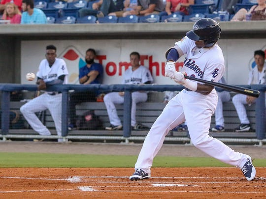 Pensacola's Shed Long (2) hits the ball into short centerfield against the Montgomery Biscuits at Admiral Fetterman Field on Friday, June 30, 2017.
