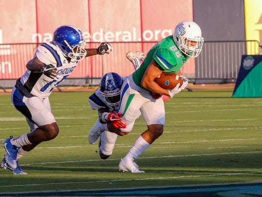 UWF's Tate Lehtio (88) races up the field after catching a pass from quarterback Mike Beaudry against Chowan in the first home game of the 2017 season at Blue Wahoos Stadium on Saturday, Sept. 16, 2017.
