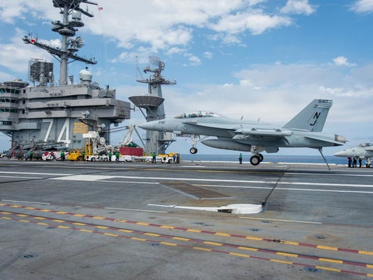 EA-18G Growler lands on USS John C. Stennis