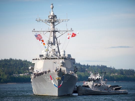Everett, Wash. (June 08, 2016) The Arleigh Burke-class guided-missile destroyer USS Sampson (DDG 102) arrives at Naval Station Everett (NSE). Sampson is returning to it's homeport following a seven-month deployment.