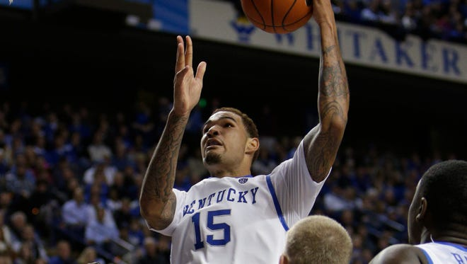 UK forward Willie Cauley-Stein scored a two point basket in the second half. The University of Kentucky hosted Mississippi State, Wednesday, Jan. 08, 2014 at Rupp Arena in Lexington. Photo by Jonathan Palmer/Special to the Courier-Journal