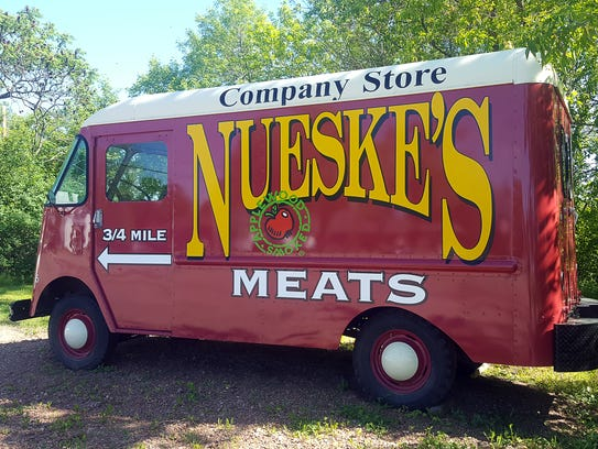 Trucks lead visitors to Nueske's in WIttenberg. The